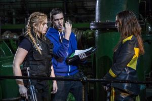 Director Mark Owen giving instructions to his two female leads. Rueful Warrior. Credit: © Samuel Dore